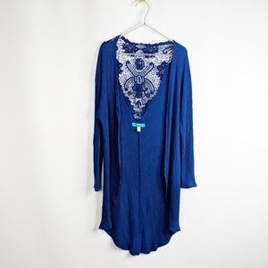 Francesca's BUTTONS blue waffle knit duster lace